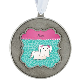 Personalized name maltese seafoam green leopard scalloped pewter christmas ornament