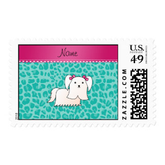 Personalized name maltese seafoam green leopard stamps