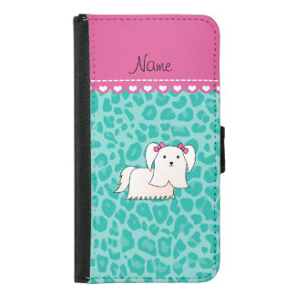 Personalized name maltese seafoam green leopard wallet phone case for samsung galaxy s5