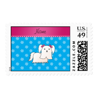 Personalized name maltese sky blue flowers postage stamp