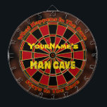 "Personalized Name Man Cave Dartboard<br><div class=""desc"">An essential in any man cave or gameroom is a regulation dart board... and this one can be personalized with your name! Add a name in the top half or just remove it. If you&#39;d like us to add the name (for no charge) just message us through Zazzle. A GamersHQ...</div>"