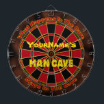 """Personalized Name Man Cave Dartboard<br><div class=""""desc"""">An essential in any man cave or gameroom is a regulation dart board... and this one can be personalized with your name! Add a name in the top half or just remove it. If you&#39;d like us to add the name (for no charge) just message us through Zazzle. A GamersHQ...</div>"""