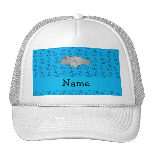 Personalized name manatee blue anchors pattern mesh hats