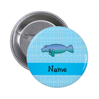Personalized name manatee blue bubbles 2 inch round button