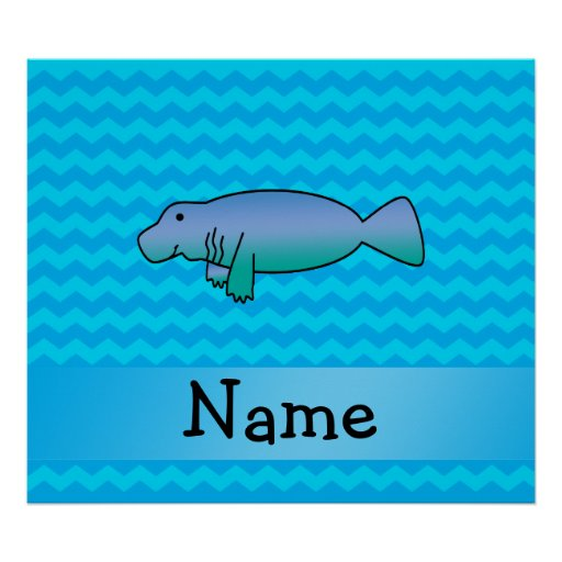 Personalized name manatee blue chevrons poster