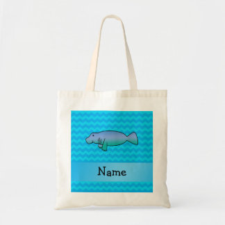 Personalized name manatee blue chevrons tote bag