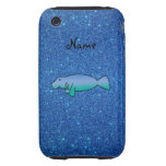Personalized name manatee blue glitter iPhone 3 tough covers