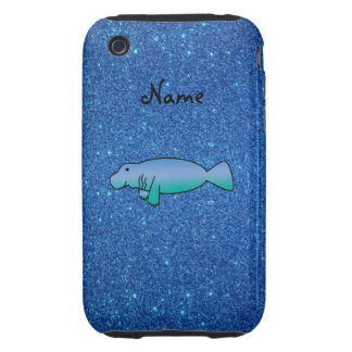 Personalized name manatee blue glitter tough iPhone 3 covers