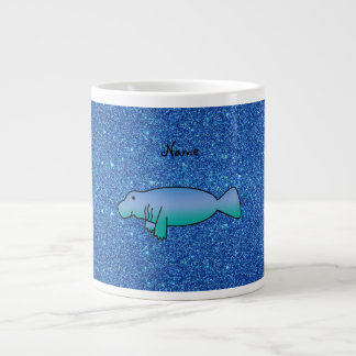 Personalized name manatee blue glitter giant coffee mug