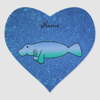 Personalized name manatee blue glitter heart sticker