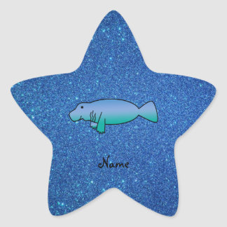 Personalized name manatee blue glitter star sticker