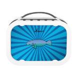 Personalized name manatee blue sunburst lunchbox