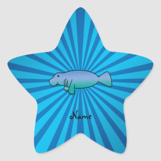 Personalized name manatee blue sunburst star sticker