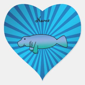 Personalized name manatee blue sunburst heart sticker