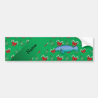 Personalized name manatee green candy canes bows car bumper sticker