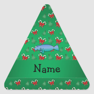 Personalized name manatee green candy canes bows triangle sticker
