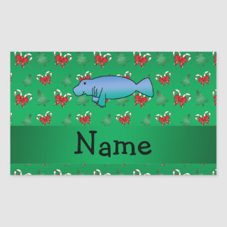 Personalized name manatee green candy canes bows rectangular sticker