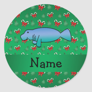 Personalized name manatee green candy canes bows classic round sticker