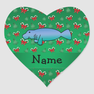 Personalized name manatee green candy canes bows heart sticker