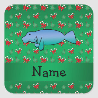 Personalized name manatee green candy canes bows square sticker