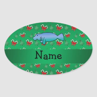 Personalized name manatee green candy canes bows oval sticker