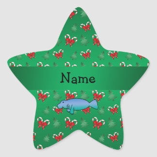 Personalized name manatee green candy canes bows star sticker