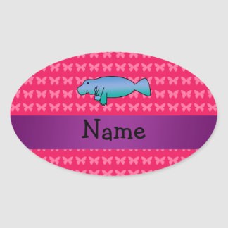 Personalized name manatee pink butterflies oval sticker