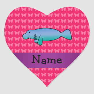 Personalized name manatee pink butterflies heart sticker