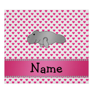 Personalized name manatee pink hearts polka dots poster