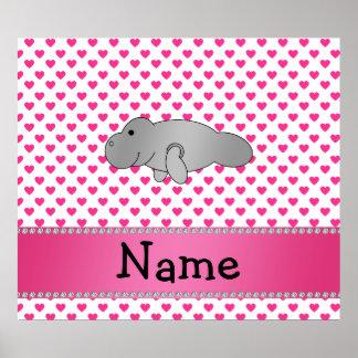 Personalized name manatee pink hearts polka dots poster