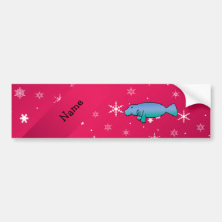 Personalized name manatee pink snowflakes car bumper sticker