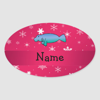 Personalized name manatee pink snowflakes oval sticker