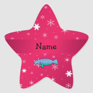 Personalized name manatee pink snowflakes star sticker