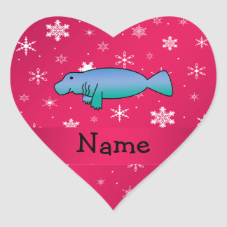 Personalized name manatee pink snowflakes heart sticker