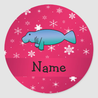 Personalized name manatee pink snowflakes classic round sticker