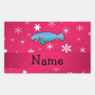 Personalized name manatee pink snowflakes rectangular sticker