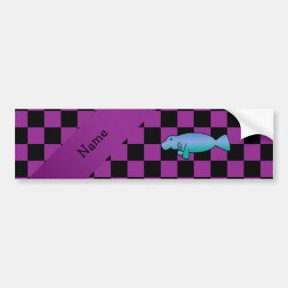 Personalized name manatee purple checkers car bumper sticker