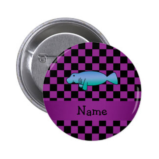 Personalized name manatee purple checkers pins