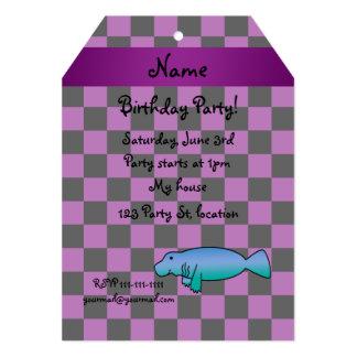"Personalized name manatee purple checkers 5"" x 7"" invitation card"