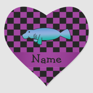 Personalized name manatee purple checkers heart sticker
