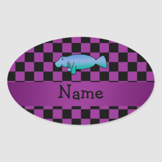 Personalized name manatee purple checkers oval sticker
