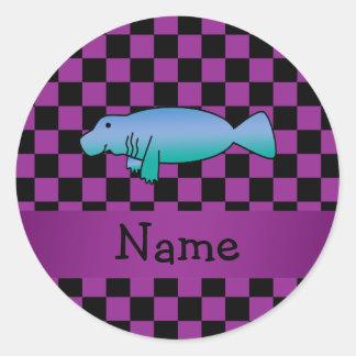 Personalized name manatee purple checkers classic round sticker