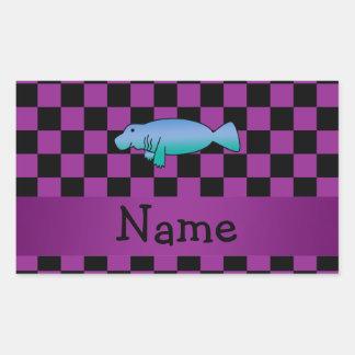 Personalized name manatee purple checkers rectangular sticker