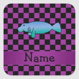 Personalized name manatee purple checkers square sticker