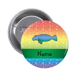 Personalized name manatee rainbow hearts button