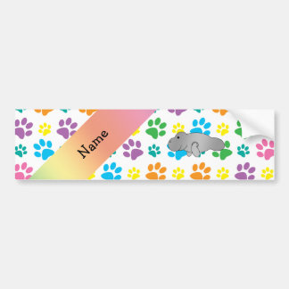 Personalized name manatee rainbow paws car bumper sticker