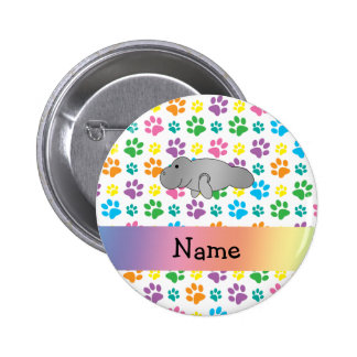 Personalized name manatee rainbow paws pin