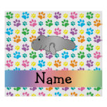 Personalized name manatee rainbow paws poster