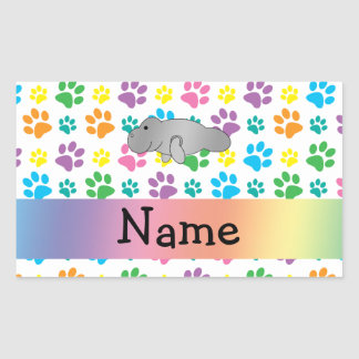 Personalized name manatee rainbow paws rectangular sticker