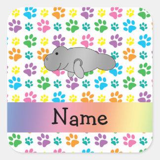 Personalized name manatee rainbow paws square sticker